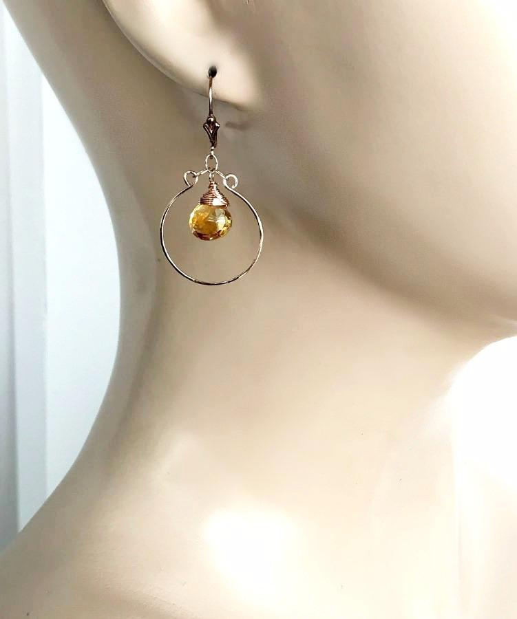 Rose Gold, Gemstone Chandelier Citrine Hoop Earring - doolittlejewelry