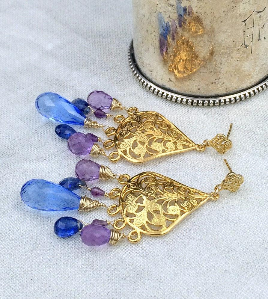 Wire Wrapped Multicolor Periwinkle Chandelier Earrings - doolittlejewelry