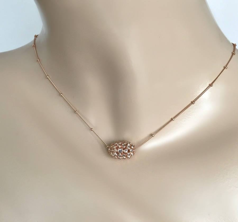 Rose Gold Pendant Diamond Slice Necklace - doolittlejewelry