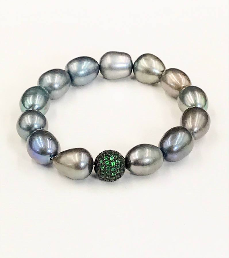 Black Baroque Pearl Stack Beaded Bracelet with pave emerald cz bead - doolittlejewelry