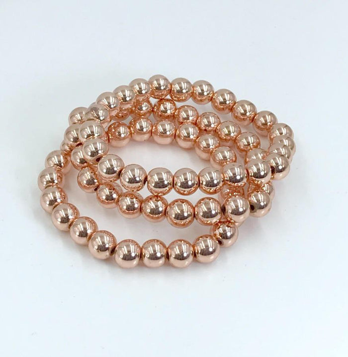 Rose Gold Beaded Stretch Bracelet - doolittlejewelry