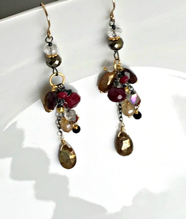 Ruby Labradorite Dangle Garnet Gold Earring - doolittlejewelry
