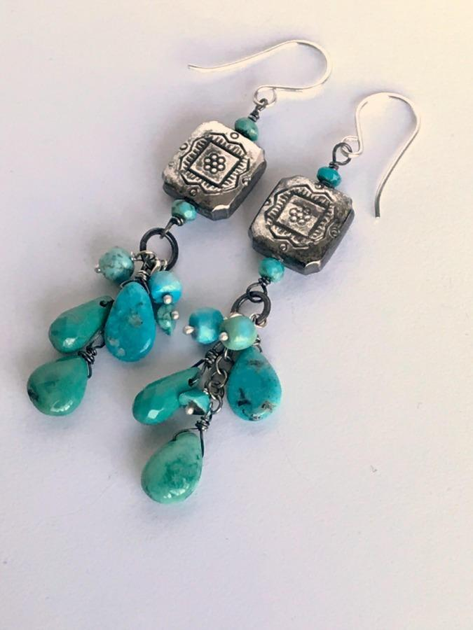 Sterling Silver, Tassel, Turquoise and Gemstone Earrings - doolittlejewelry