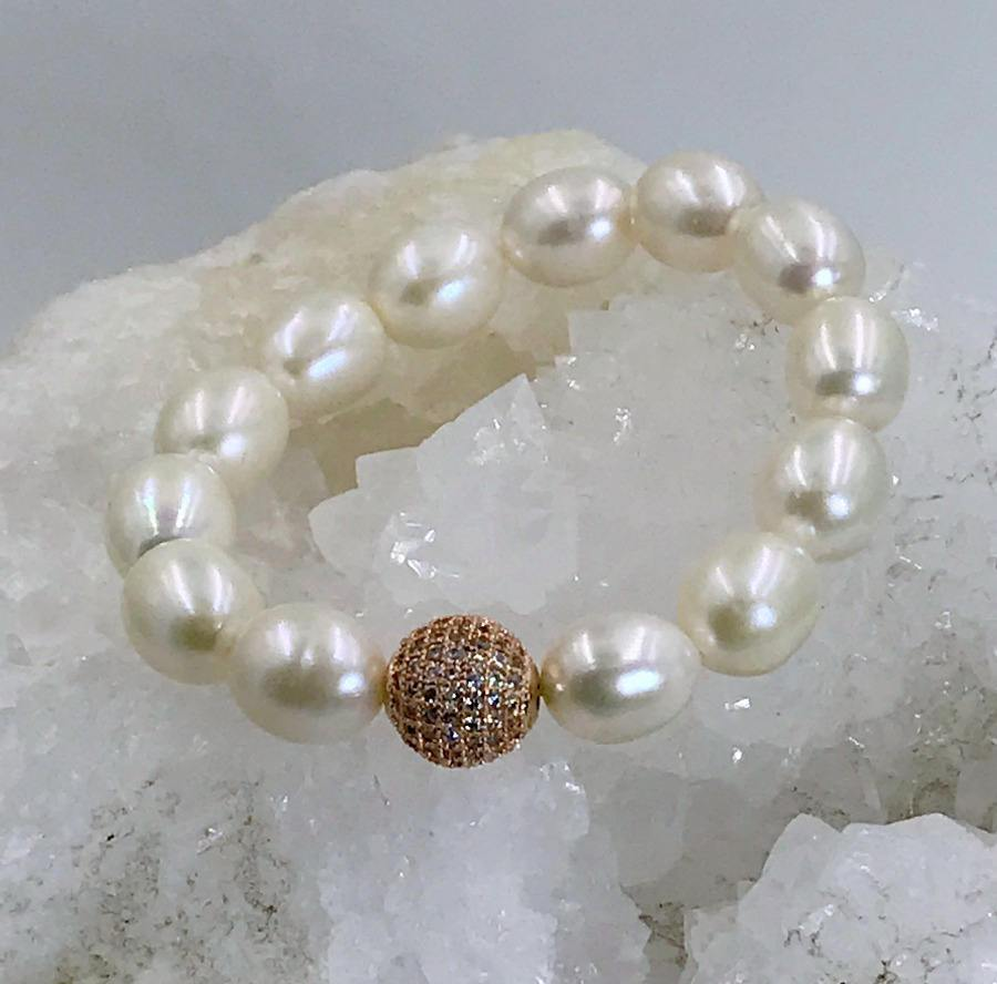 Ivory, Pearl and Rose Gold Layering Bracelet - doolittlejewelry