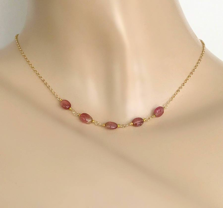 Pink Tourmaline and Watermelon Tourmaline Layering Necklace - doolittlejewelry