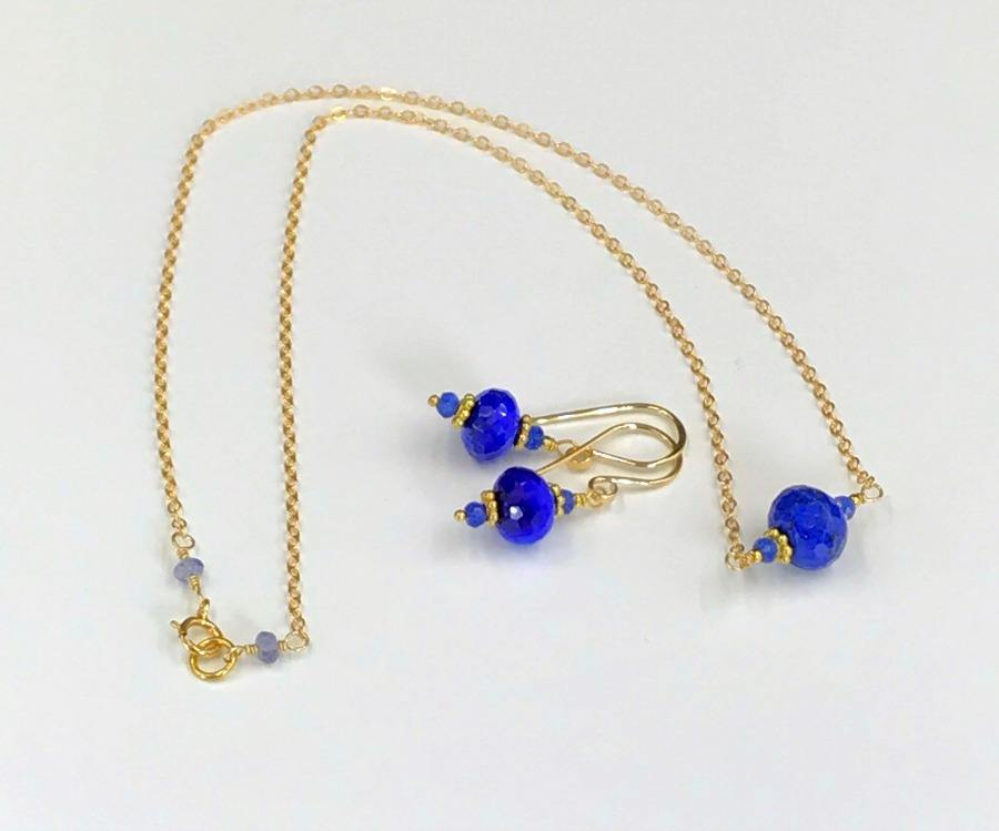 Blue Gemstone Gold Necklace Earrings Set - doolittlejewelry
