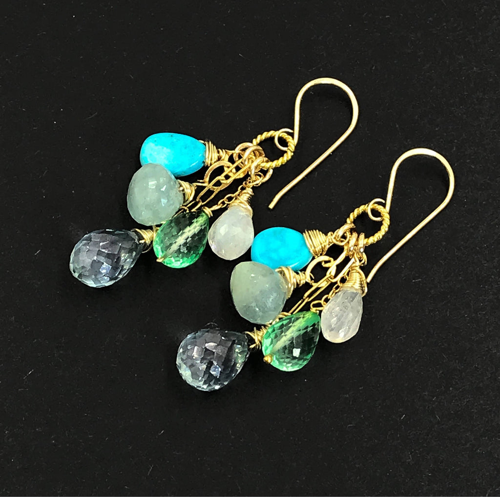Blue Green Multicolor Gemstone Wire Wrap Gold Earrings - doolittlejewelry