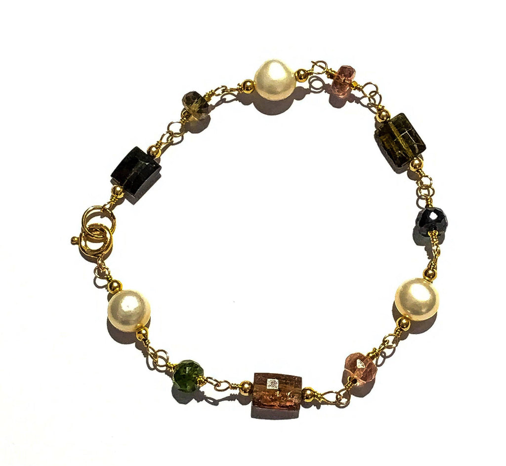 Tourmaline Gemstone and Pearl Wire Wrap Gold  Bracelet - doolittlejewelry