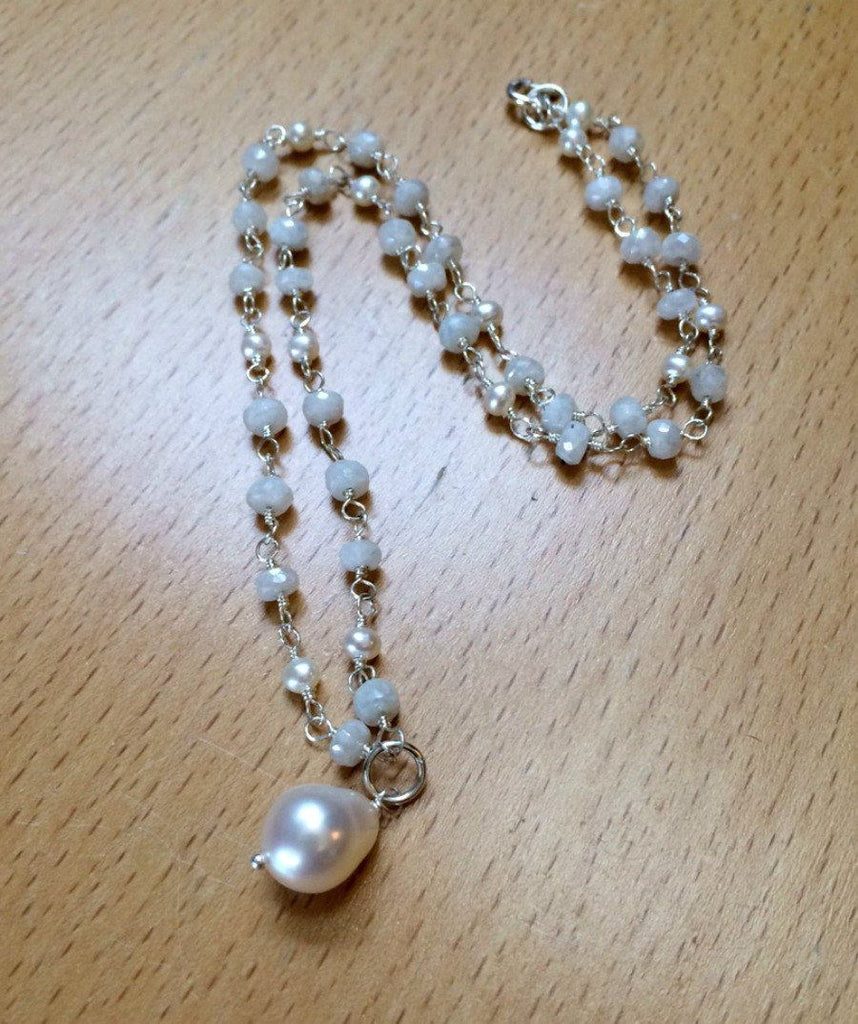 Sterling Silver Rosary Style Dangle Necklace - doolittlejewelry