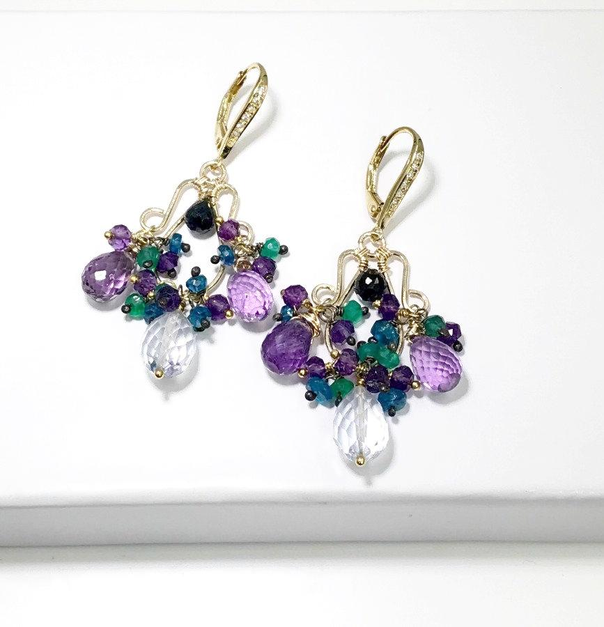 Amethyst and Blue Topaz Gemstone Chandelier Earrings 14kt Gold Fill - doolittlejewelry