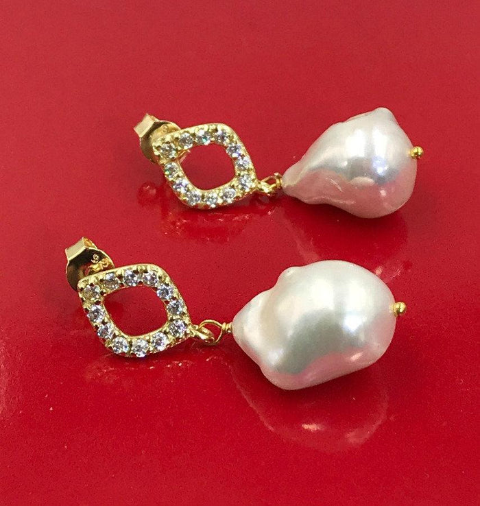 Sterling Silver and Ivory Pearl Drop Earrings - doolittlejewelry