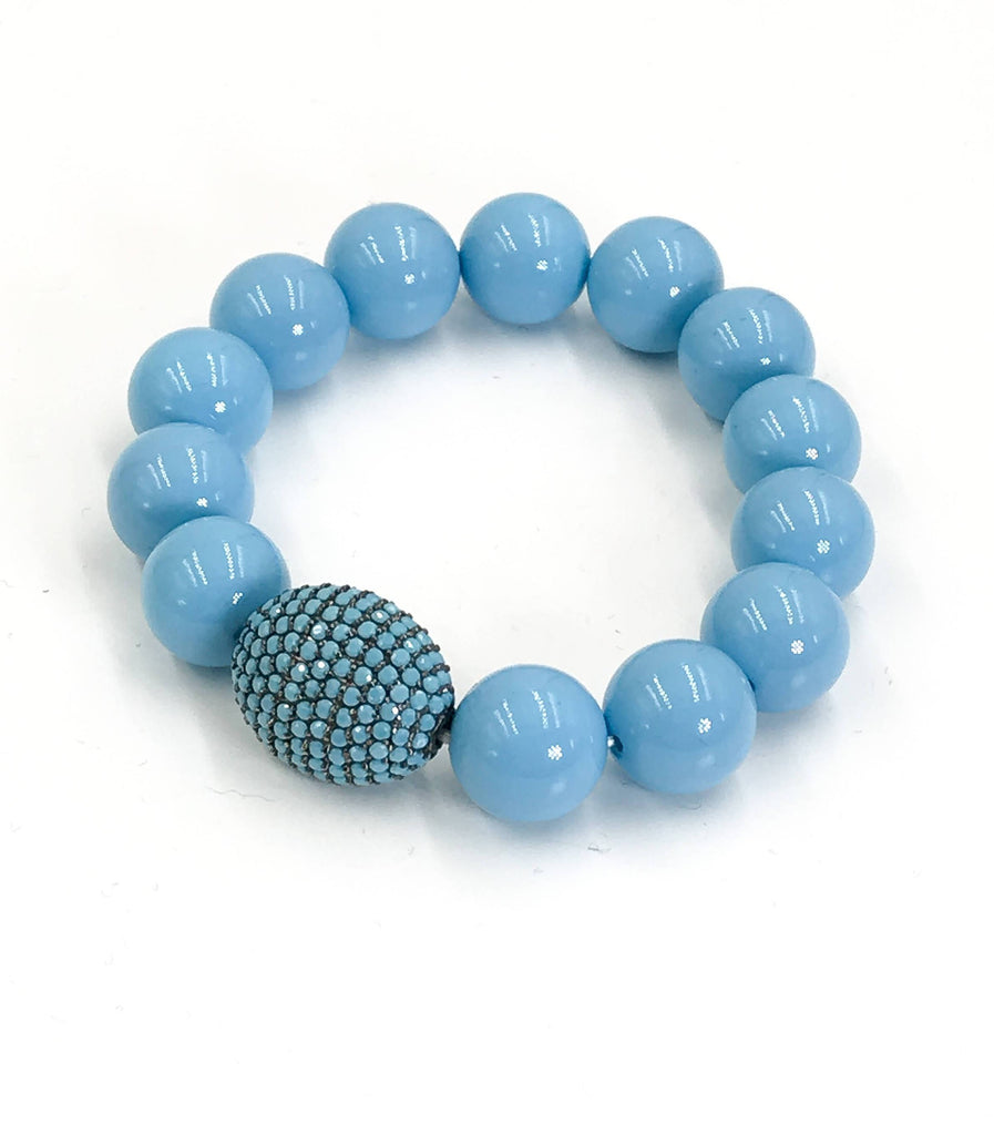 Turquoise Pave Bead Layering Bracelet - doolittlejewelry