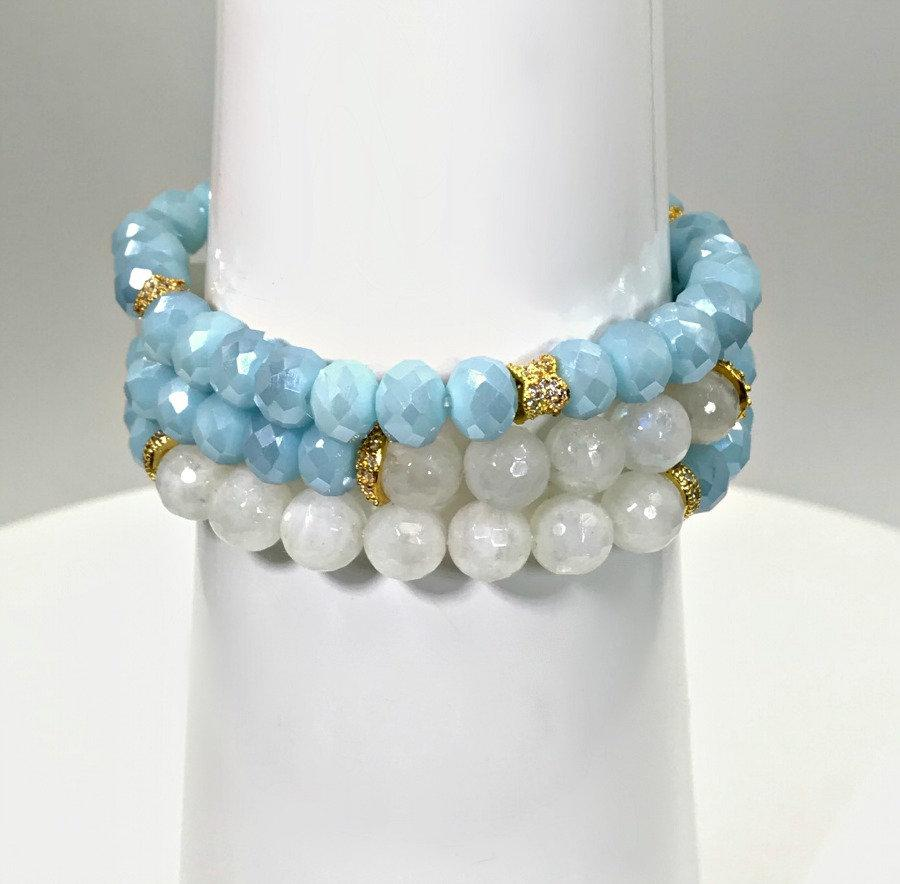 Moonstone Light Blue Crystal Layering Bracelets - doolittlejewelry