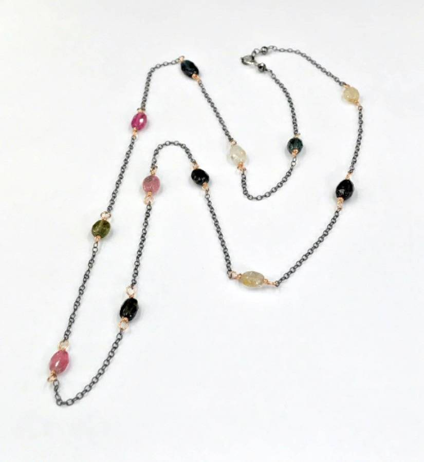 Oxidized Silver and Rose Gold  Necklace - doolittlejewelry