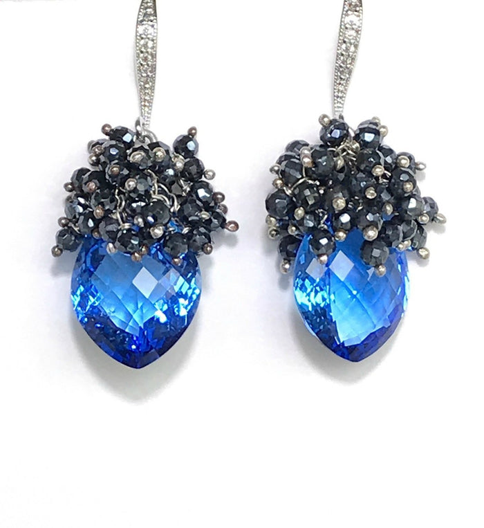 Blue Topaz and Black Spinel Cluster Earrings Sterling Silver - doolittlejewelry