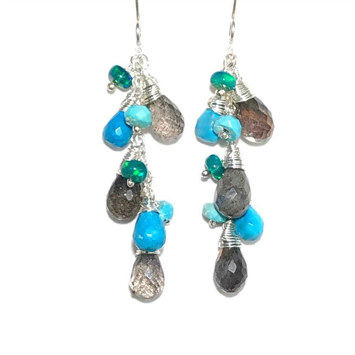 Turquoise, Labradorite and Sterling Silver Dangle Earrings - doolittlejewelry
