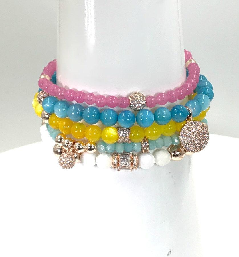 Gemstone Beaded Pave Layering Stretch Bracelets - doolittlejewelry
