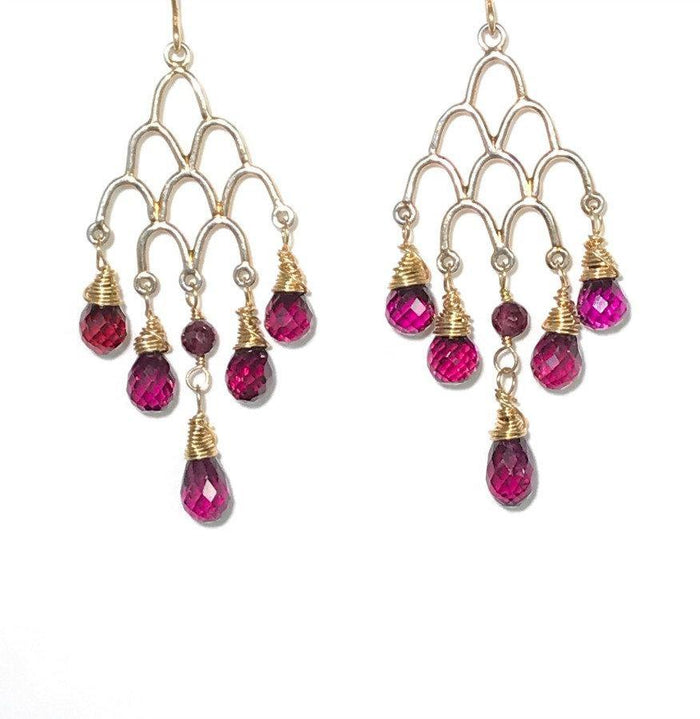 Rhodolite Garnet Gemstone Gold Chandelier Earrings - doolittlejewelry