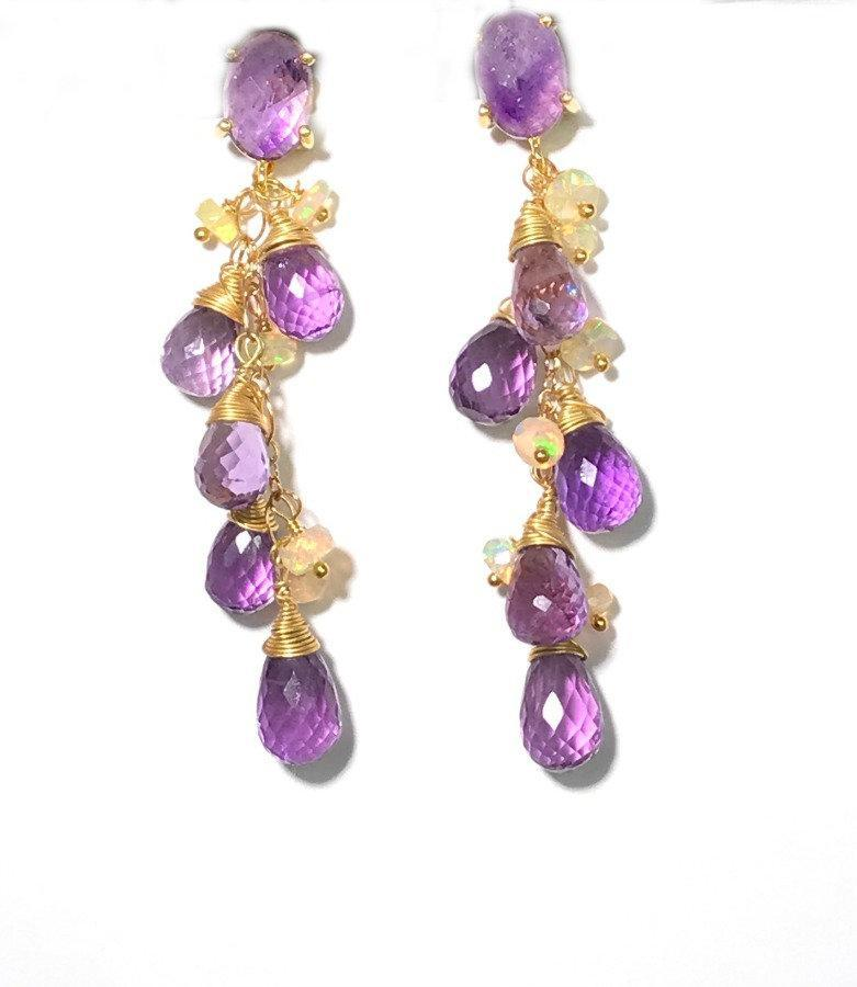Amethyst, Opal and Gold Dangle Post Earrings - doolittlejewelry
