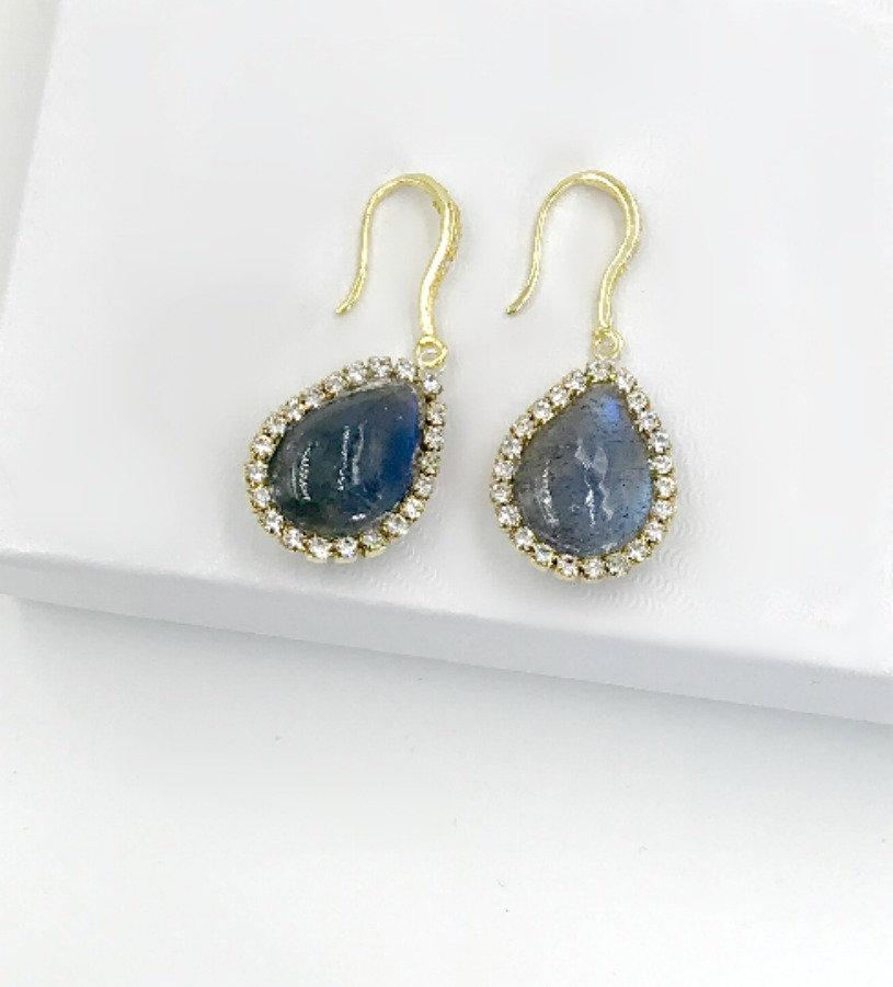 Labradorite Drop and Pave Diamond Look Earring - doolittlejewelry
