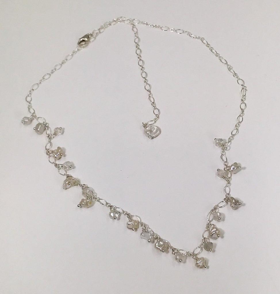 Sterling Silver and Keishi Pearl Dangle Necklace - doolittlejewelry