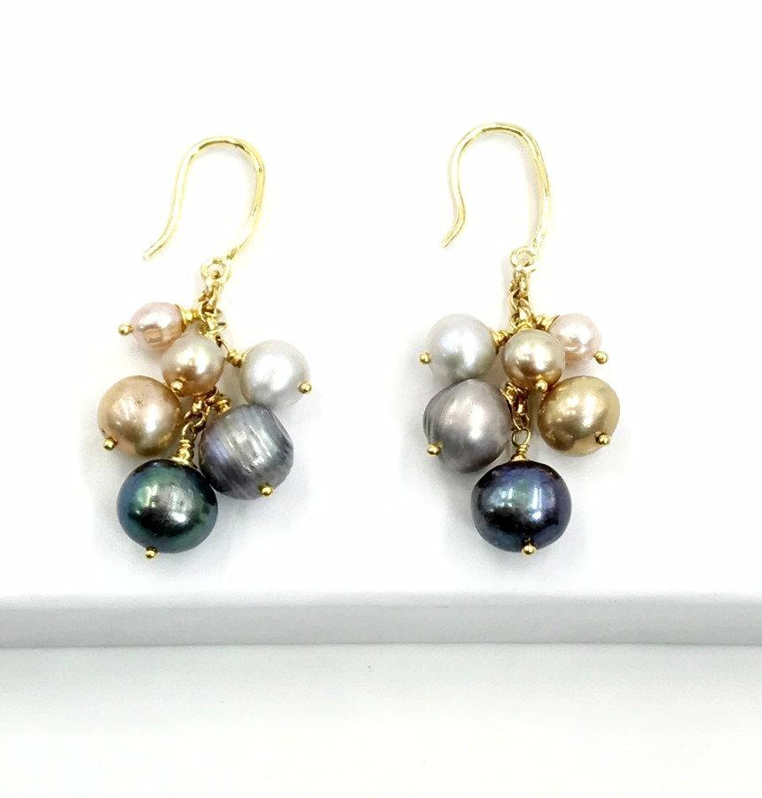 Multicolor Pearl Dangle Wedding Earrings - doolittlejewelry