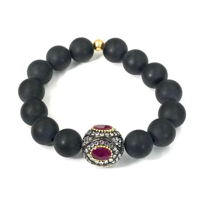 Ruby Stretch Black Onyx Beaded Stacking Bracelet - doolittlejewelry