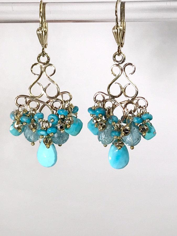 Turquoise Chandelier and Handmade Chandelier Gold Earring - doolittlejewelry