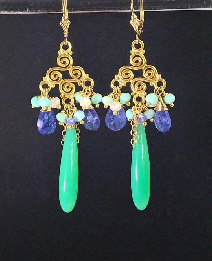 Tanzanite and Gemstone Chandelier Gold Fill Earring - doolittlejewelry