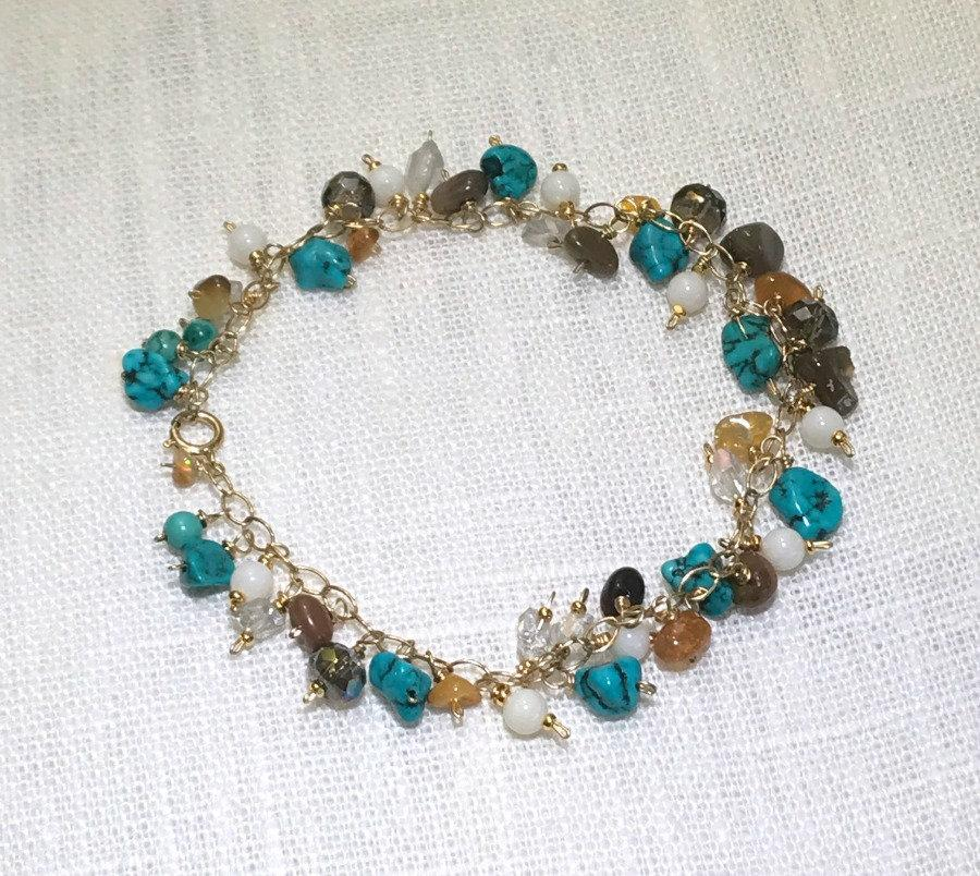 Colorful Gemstone and Turquoise Handmade Gold Bracelet - doolittlejewelry
