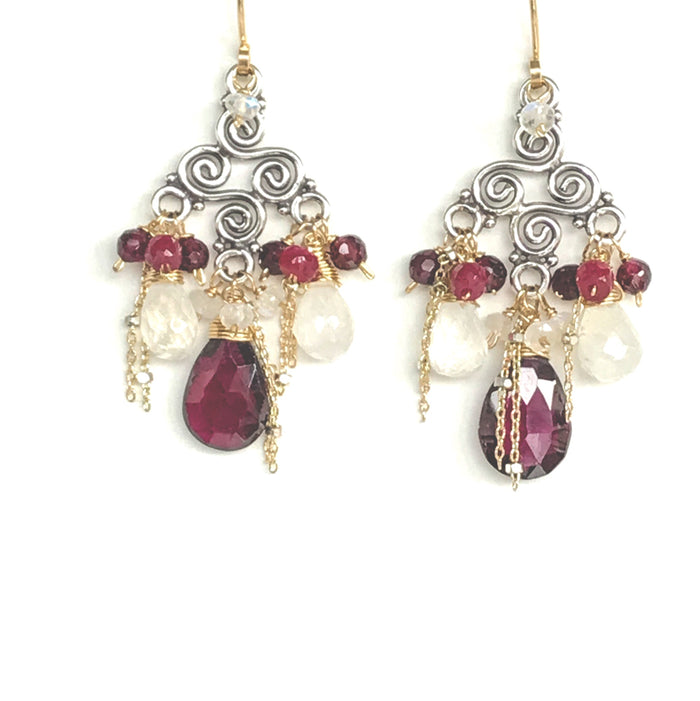 Moonstone Garnet Mixed Metal Chandelier Earring - doolittlejewelry