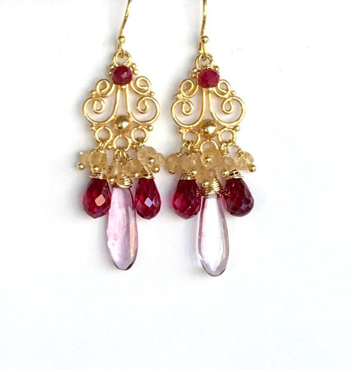 Red, Pink and Gold Wire Wrapped Earring