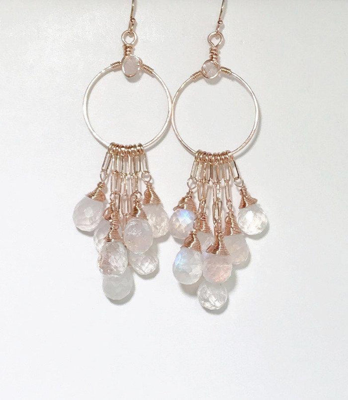 Moonstone Chandelier and Rose Gold Hoop Earrings - doolittlejewelry