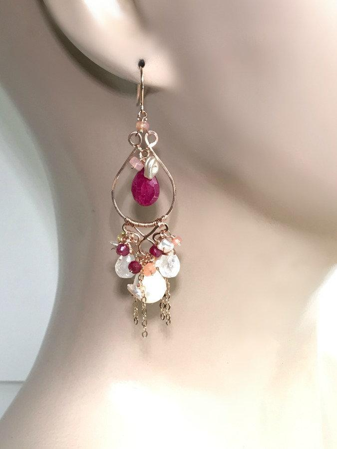 Ruby and Pearl Moonstone Wire Wrap Earrings - doolittlejewelry