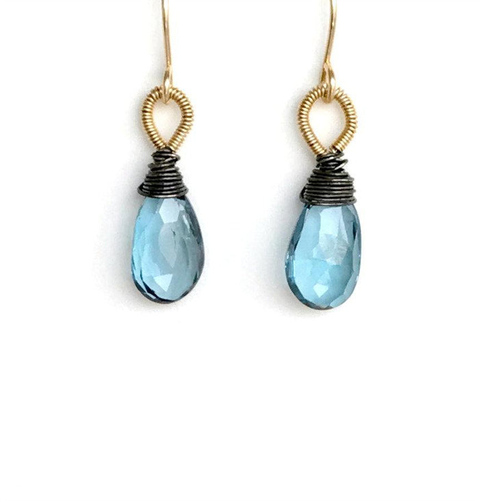 Oxidized Silver and Blue Topaz Gold Earrings - doolittlejewelry