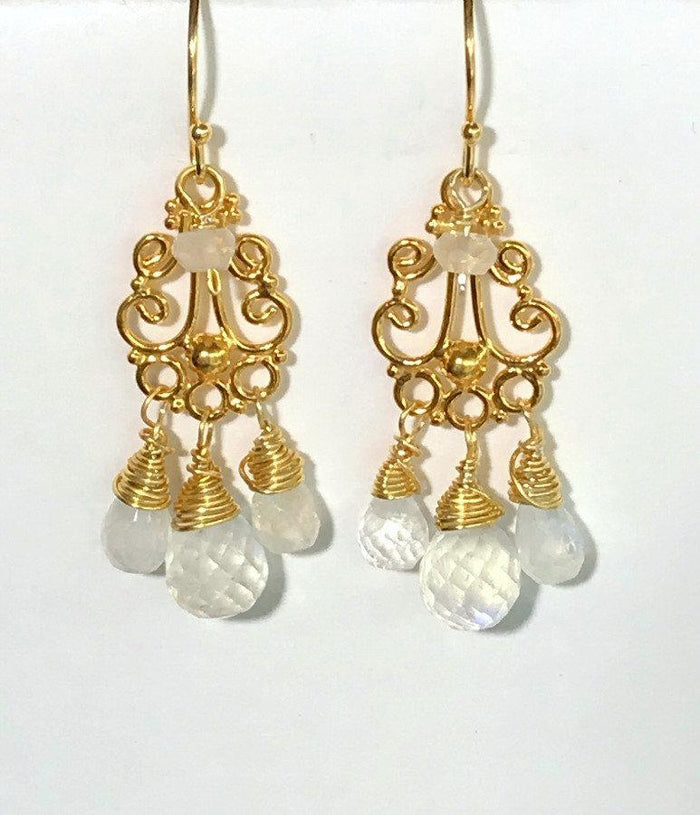 Moonstone Chandelier and White Wedding Earrings Gold