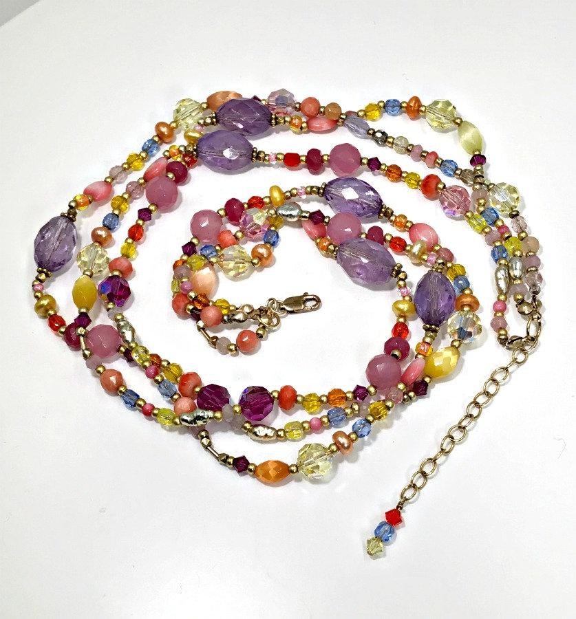 Colorful Gemstone Multicolor Crystal Necklace - doolittlejewelry