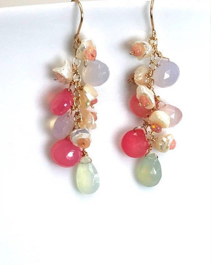 Rose Gold Multicolor Gemstone Opal Earrings - doolittlejewelry