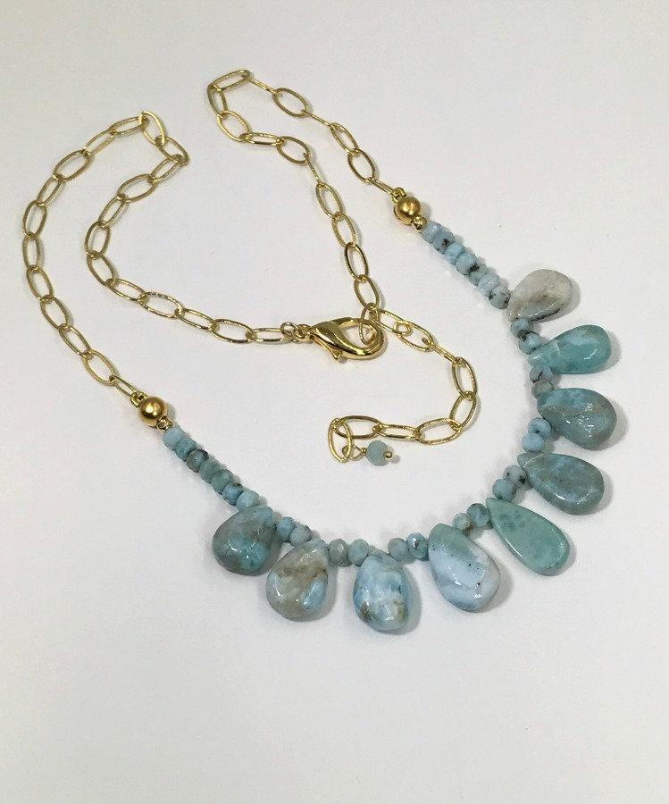 Larimar, Briolette and Gemstone Layering Necklace - doolittlejewelry