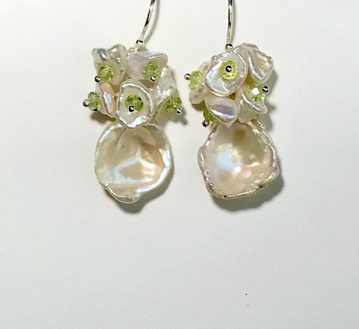 Keishi Pearl and Peridot Gemstone Cluster Earrings - doolittlejewelry