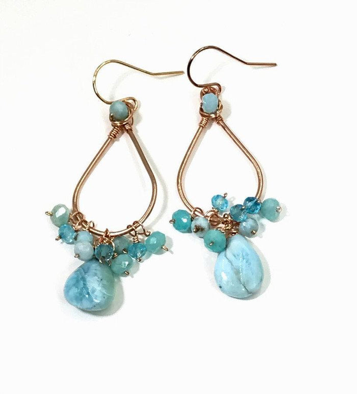 Rose Gold Rustic Larimar Cluster Earrings - doolittlejewelry