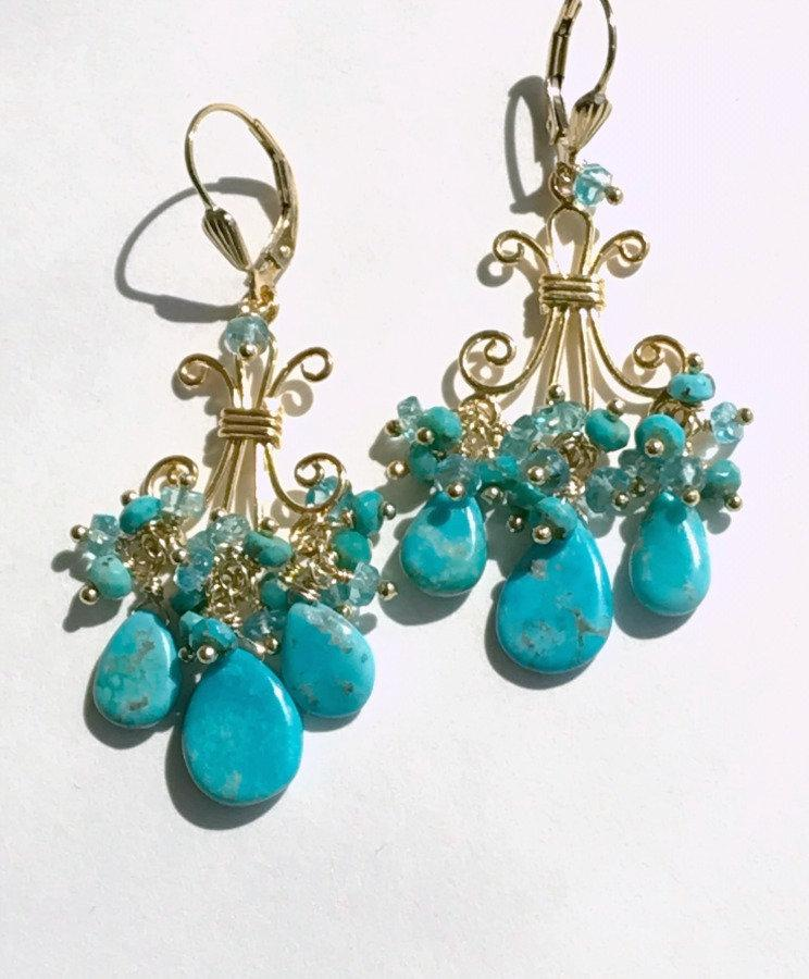 Turquoise Gemstone Chandelier Gold Earrings - doolittlejewelry