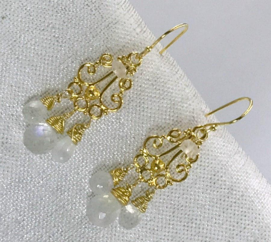 Moonstone Chandelier and White Wedding Earrings Gold - doolittlejewelry