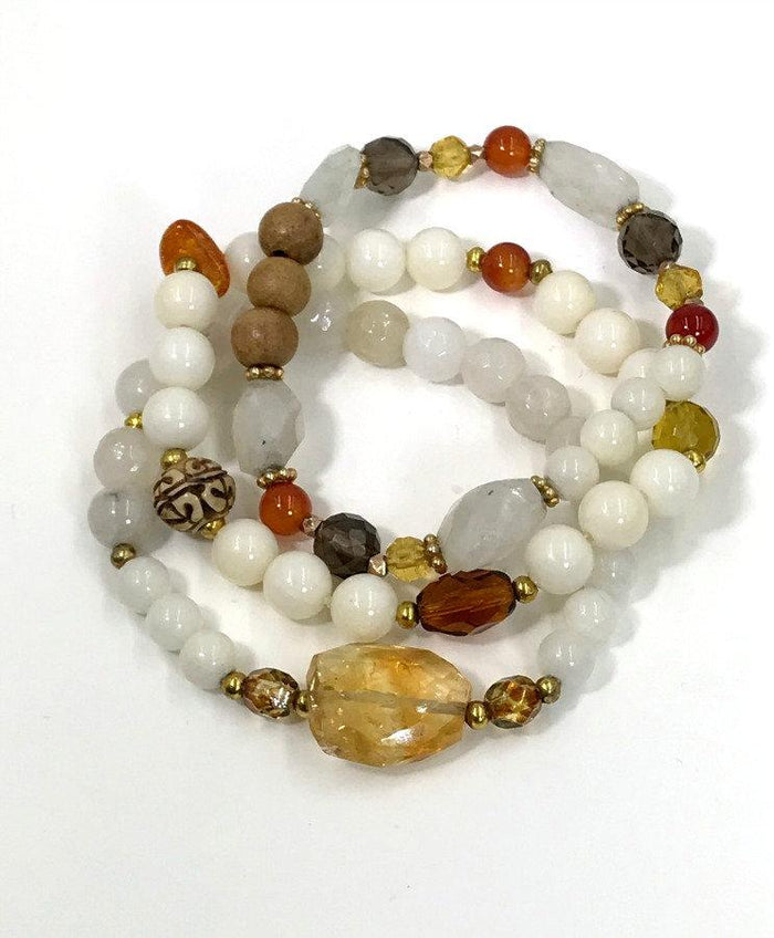 Gemstone Stretch Bracelets Set of 3 Citrine White Agate and - doolittlejewelry