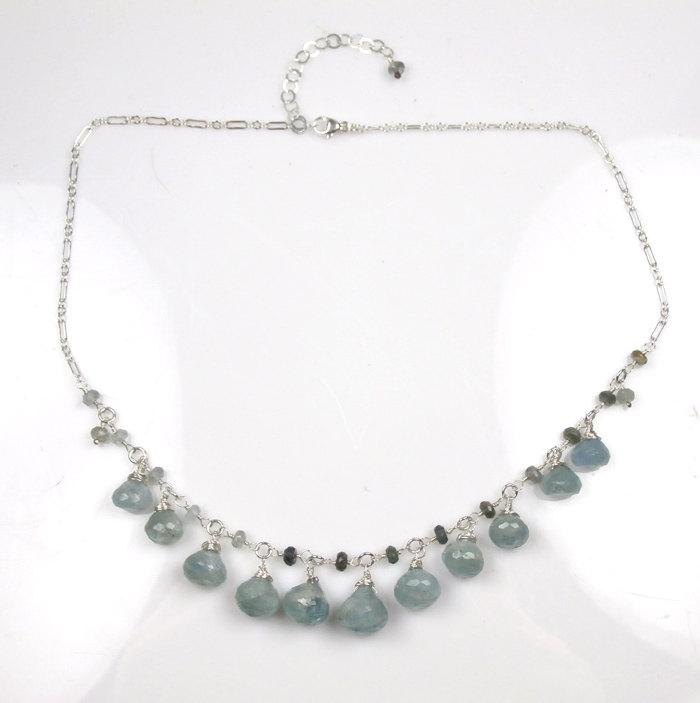 Sterling Silver Aquamarine Blue Dangle Necklace - doolittlejewelry