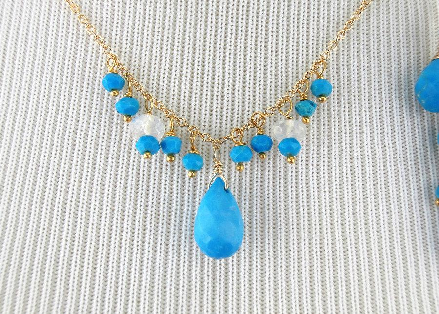 Turquoise Dangle Gemstone Gold Fill Earrings - doolittlejewelry