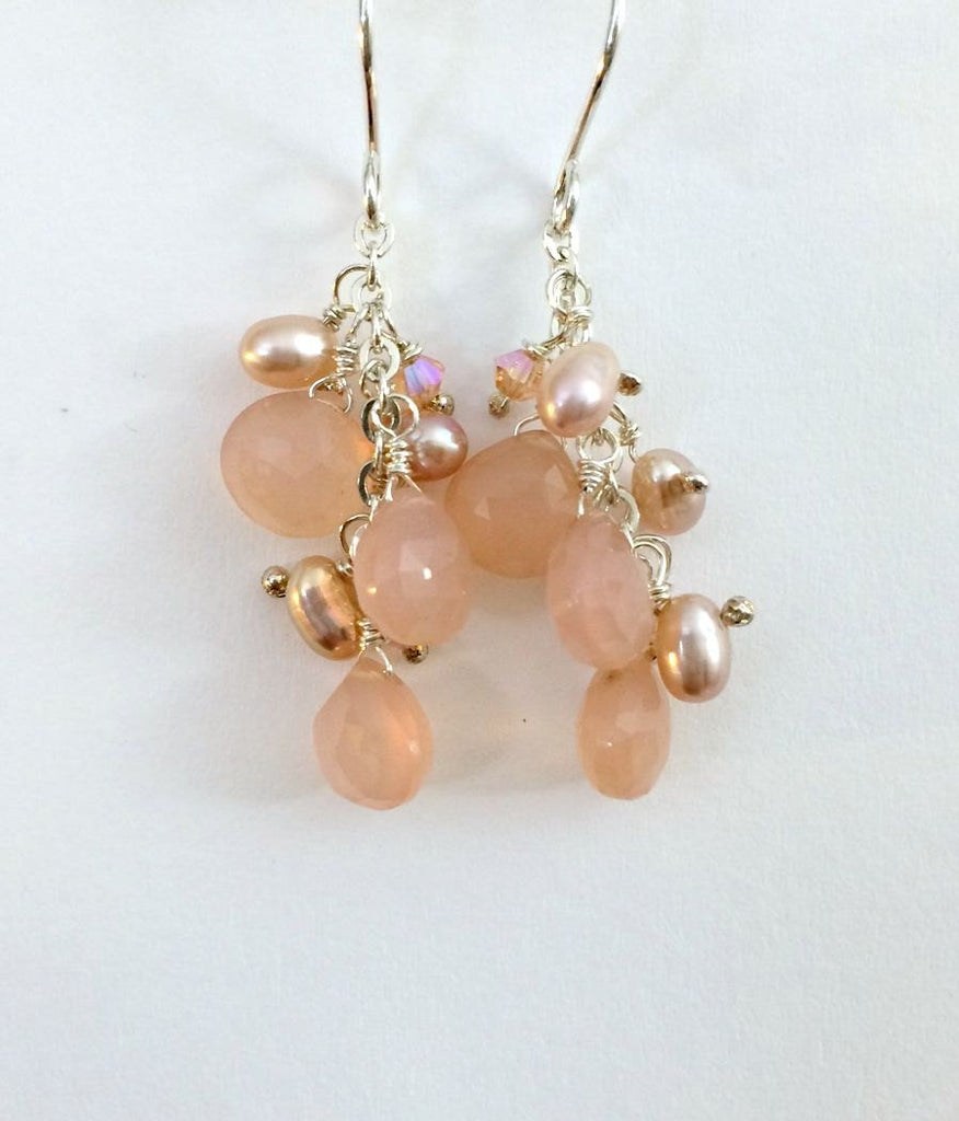 Sterling Silver, Peach Dangle and Cluster Earrings - doolittlejewelry