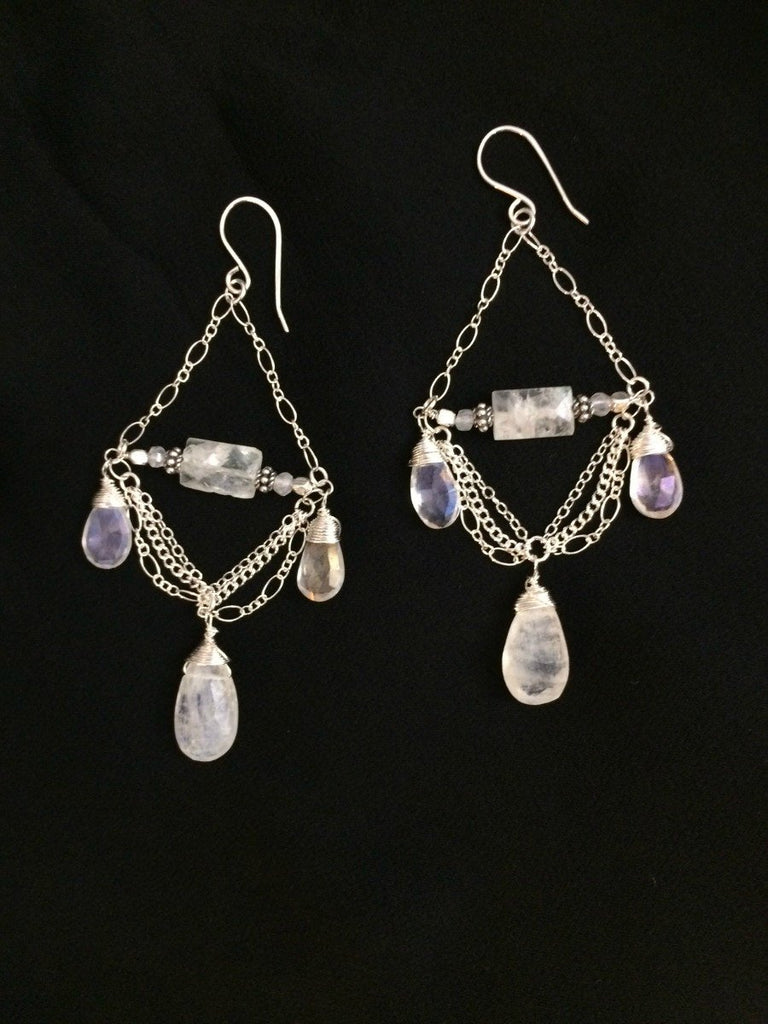 Sterling Silver Moonstone Chandelier Earrings - doolittlejewelry