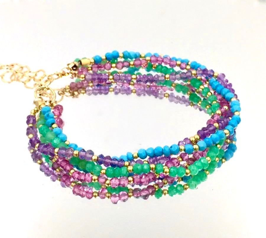 Multi-strand Gemstone Dainty and Gemstone Beaded Bracelet - doolittlejewelry