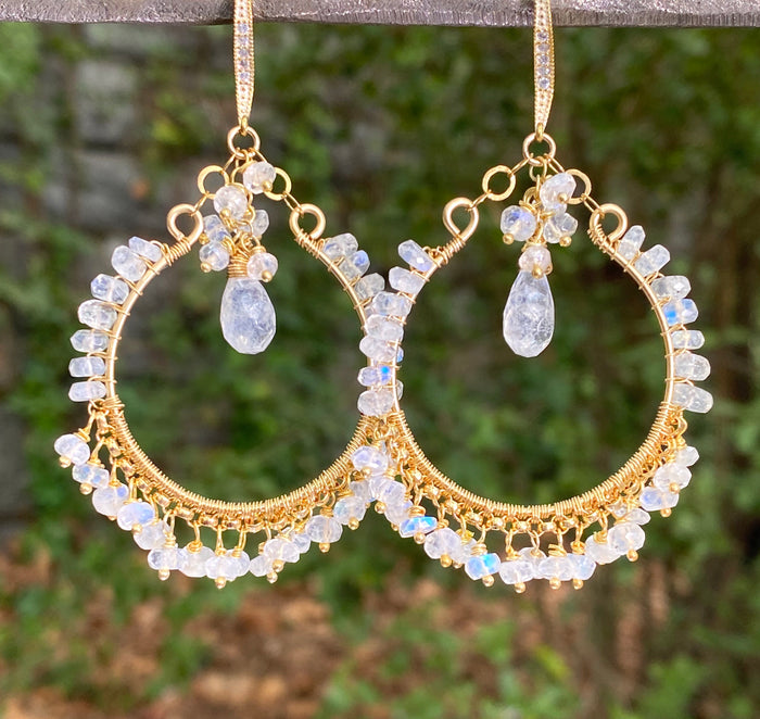Rainbow Moonstone Gold Hoop Chandelier Earrings